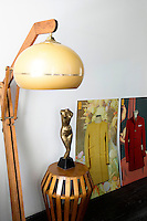 Modern wooden lamp and sculpture