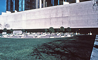 Bonaventure Hotel--exterior, 1974. Designed by John C. Portman. View from rooftop to pool deck. Downtown Los Angeles.