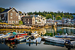 Fishing village at sunrise in Stonington Harbor, Stonington, ME