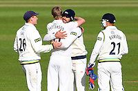 PICTURE BY ALEX WHITEHEAD/SWPIX.COM - Cricket - LV County Championship Match, Day 1 - Yorkshire vs Derbyshire - Headingley, Leeds, England - 29/04/13 - Yorkshire's Steven Patterson is congratulated by Liam Plunkett and team-mates for the wicket of Derbyshire's Wayne Masden.