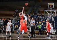 Reshanda Gray of California tips off against Oregon State at Haas Pavilion in Berkeley, California on January 3rd, 2014.  California defeated Oregon State, 72-63.