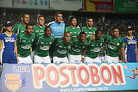 BOGOTÁ -COLOMBIA, 15-06-2013. Juagadores del Deportivo Cali posan antes del aprtido contra Independiente Santa Fe de los cuadrangulares finales F1 de la Liga Postobón 2013-1 jugado en el estadio Pascual Guerrero de la ciudad de Cali./ Deportivo Cali players pose befores match against Independiente Santa Fe of the final quadrangular 1th date of Postobon  League 2013-1 at Pascual Guerrero stadium in Cali city. Photo: VizzorImage/ Juan Carlos Quintero/STR