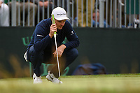 Justin Rose (GBR) lines up his putt on 3 during round 4 of the 2019 US Open, Pebble Beach Golf Links, Monterrey, California, USA. 6/16/2019.<br /> Picture: Golffile | Ken Murray<br /> <br /> All photo usage must carry mandatory copyright credit (© Golffile | Ken Murray)