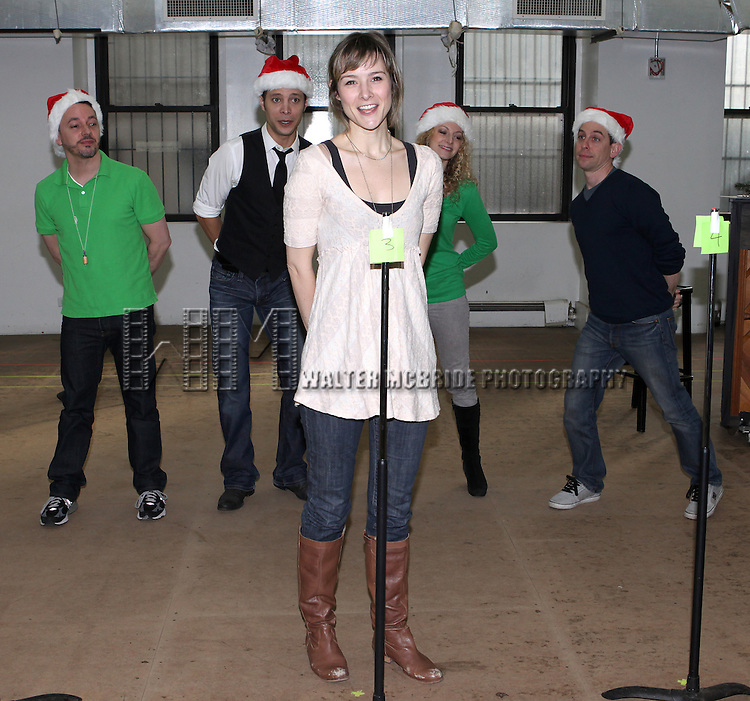 Garth Kravits, Justin Guarini,, Jill Paice, Lauren Molina & Mark Price attending the Rehearsal for the Bucks County Playhouse production of 'It's a Wonderful Life - A Live Radio Play' at their rehearsal studios in New York City on December 5, 2012.
