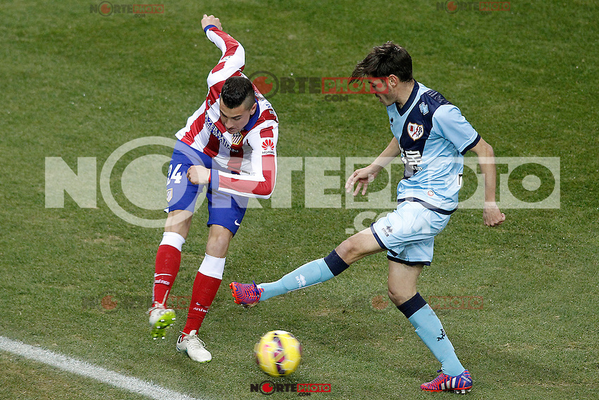 Atletico de Madrid's Jose Maria Gimenez (l) and Rayo Vallecano's Jozabed Sanchez during La Liga match.January 24,2015. (ALTERPHOTOS/Acero) /NortePhoto<br /> NortePhoto.com