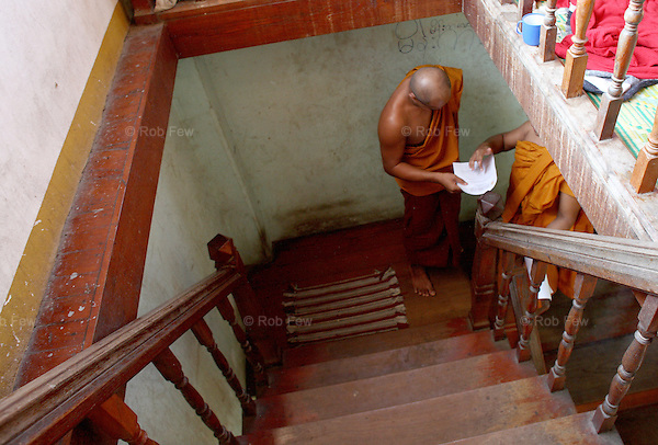After 2007's protests against Burmese military rule, many monks who had played a prominent role in demonstrations had to flee Burma. Here, in a temple on the Thai border, they are providing information to the UN about the subsequent crackdown and the situation of those detained on the other side.<br /> <br /> There are around 1 million Burmese migrants living in Thailand. They exist in appalling poverty. Most are employed in backbreaking manual labour, on dangerous construction sites and fisheries or in karaoke bars and brothels.  They face constant harassment - wage exploitation, physical abuse, rape and even murder are commonplace and routinely go unpunished. Few have access to decent healthcare, to education or to legal protection. For the Burmese in Thailand, human rights are little more than a dream. And yet they choose to stay. Why? Because as bad as things are in Thailand, on the other side of the border, they are even worse.