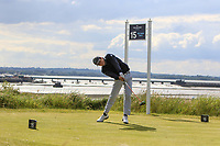 Raphael Le Bot (FRA) on the 15th tee during Round 1 of the The Amateur Championship 2019 at The Island Golf Club, Co. Dublin on Monday 17th June 2019.<br /> Picture:  Thos Caffrey / Golffile<br /> <br /> All photo usage must carry mandatory copyright credit (© Golffile | Thos Caffrey)