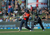 England captain Eoin Morgan hits a six during the 4th Twenty20 International cricket match between NZ Black Caps and England at McLean Park in Napier, New Zealand on Friday, 8 November 2019. Photo: Dave Lintott / lintottphoto.co.nz