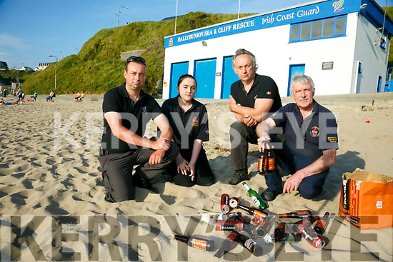 Ballybunion sea and Cliff Rescue warning to beach users not to leave broken bottles on beach as it's hindering rescue and safety. Pictured Paul McDonnell Rachel, Enright, Frank O'Connor, Gary Kavanagh