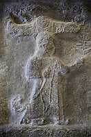 End relief panel of the 13th century BC Hittite religious rock carvings of Yazılıkaya Hittite rock sanctuary, chamber A,  Hattusa, Bogazale, Turkey. Plastercast at the Vorderasiatisches Museum, Pergamon Museum, Berlin.