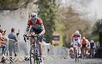 Bob JUNGELS (LUX/Deceuninck-Quick Step) up the Kruisberg<br /> <br /> 103rd Ronde van Vlaanderen 2019<br /> One day race from Antwerp to Oudenaarde (BEL/270km)<br /> <br /> ©kramon