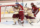 Meagan Mangene (BC - 24), Hillary Crowe (Harvard - 8), Blake Bolden (BC - 10), Corinne Boyles (BC - 29), Kaitlin Spurling (Harvard - 17) - The Boston College Eagles defeated the visiting Harvard University Crimson 3-1 in their NCAA quarterfinal matchup on Saturday, March 16, 2013, at Kelley Rink in Conte Forum in Chestnut Hill, Massachusetts.