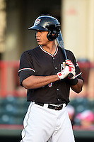 Erie SeaWolves outfielder Steven Moya (44) at bat during a game against the Akron RubberDucks on May 17, 2014 at Jerry Uht Park in Erie, Pennsylvania.  Erie defeated Akron 2-1.  (Mike Janes/Four Seam Images)