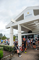 Riders gather at the Copthorne Hotel before the start of stage three of the 2018 NZ Cycle Classic UCI Oceania Tour (Masterton to Martinborough) in Wairarapa, New Zealand on Friday, 19 January 2018. Photo: Dave Lintott / lintottphoto.co.nz