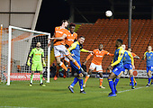 18/12/18 The Emirates FA Cup, 2nd Round Replay Blackpool v Solihull Moor<br /> <br /> Ben Heneghan heads clear