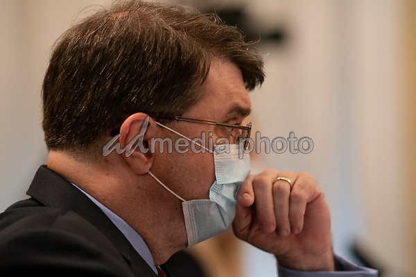 United States Secretary of Veterans Affairs (VA) Robert Wilkie, touches his facemark during a hearing with the US House Appropriations Subcommittee on Military Construction, Veterans Affairs, and Related Agencies on Capitol Hill in Washington DC, on May 28th, 2020.<br /> Credit: Anna Moneymaker / Pool via CNP/AdMedia