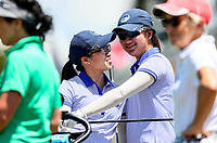 Cary Khoo (L) and Rose Zheng of Auckland. Day One of the Toro Interprovincial Women's Championship, Sherwood Golf Club, Wjangarei,  New Zealand. Monday 4 December 2017. Photo: Simon Watts/www.bwmedia.co.nz