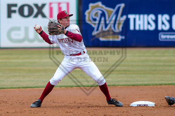 Wisconsin Timber Rattlers infielder Trever Morrison (13) during a Midwest League game against the Burlington Bees on April 11th, 2017 at Fox Cities Stadium in Appleton, Wisconsin.  Wisconsin defeated Burlington 4-3. (Brad Krause/Krause Sports Photography)