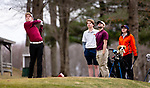 WATERTOWN,  CT-041119JS16-  Torrington's Anthony Marinelli tees off on the 14th hole while Watertown's Tom Morrissey, Torrington's Gregory Aschenbrenner  and Watertown's Hayley Zemaitis  look on during their match Thursday at Crestbrook Park in Watertown. <br /> Jim Shannon Republican American