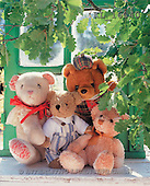 Interlitho, Alberto, CUTE ANIMALS, teddies, photos, 4 teddies, oak-leaves(KL16040,#AC#)