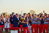 President Trump and Steve Stricker (USA) with the Presidents Cup trophy for winning the 2017 President's Cup, Liberty National Golf Club, Jersey City, New Jersey, USA. 10/1/2017. <br /> Picture: Golffile | Ken Murray<br /> <br /> All photo usage must carry mandatory copyright credit (&copy; Golffile | Ken Murray)