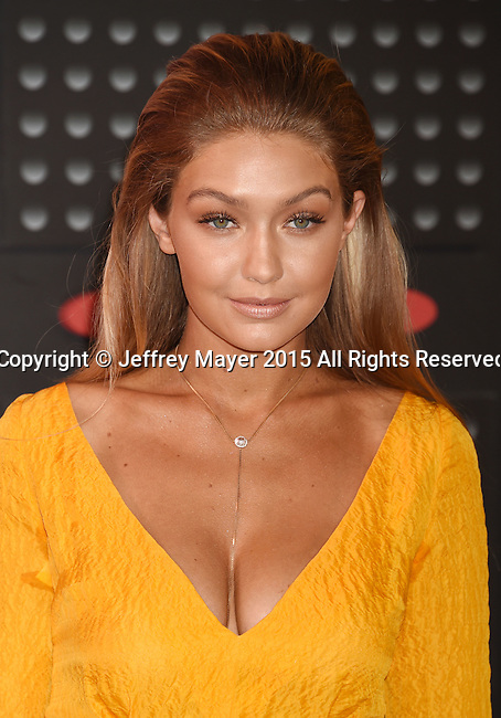 LOS ANGELES, CA - AUGUST 30: Model  Gigi Hadid arrives at the 2015 MTV Video Music Awards at Microsoft Theater on August 30, 2015 in Los Angeles, California.
