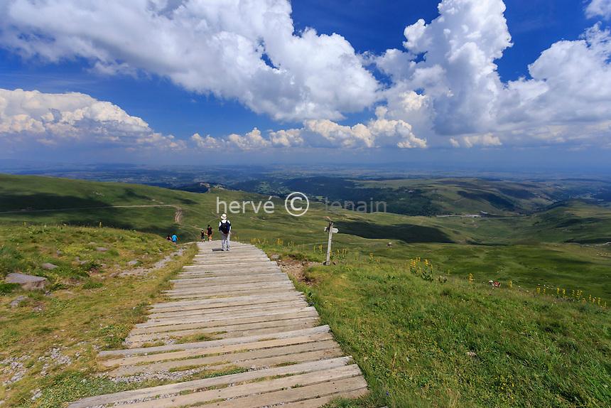 France, Cantal (15), le Plomb du Cantal, escalier proche du sommet // France, Cantal, Plomb du Cantal, near the summit