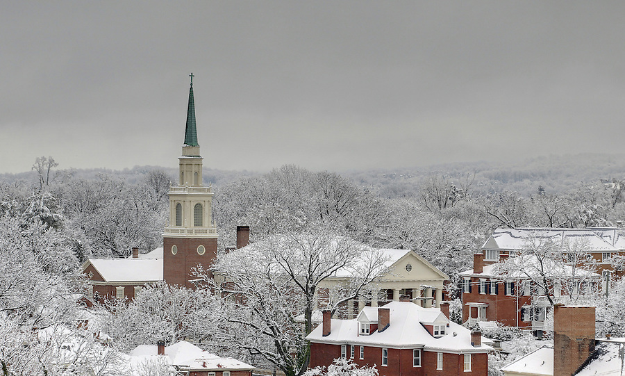 A snow covered Downtown Charlottesville, VA. Photo/Andrew Shurtleff