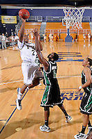 6 February 2010:  FIU's Stephon Weaver (2) shoots over North Texas' George Odufuwa (4) in the second half as the North Texas Mean Green defeated the FIU Golden Panthers, 68-66, at the U.S. Century Bank Arena in Miami, Florida.