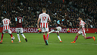 West Ham United's Edimilson Fernandes scores with a long range shot but the goal was disallowed for offside<br /> <br /> Photographer Rob Newell/CameraSport<br /> <br /> The Premier League - West Ham United v Stoke City - Monday 16th April 2018 - London Stadium - London<br /> <br /> World Copyright &copy; 2018 CameraSport. All rights reserved. 43 Linden Ave. Countesthorpe. Leicester. England. LE8 5PG - Tel: +44 (0) 116 277 4147 - admin@camerasport.com - www.camerasport.com