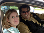 Newsday Photographer, Tom Ferrara, with ? Reporter, in Manorville, NY in summer of 2006. Photo by Jim Peppler.
