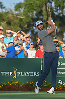 Dustin Johnson (USA) watches his tee shot on 10 during round 1 of The Players Championship, TPC Sawgrass, at Ponte Vedra, Florida, USA. 5/10/2018.<br /> Picture: Golffile | Ken Murray<br /> <br /> <br /> All photo usage must carry mandatory copyright credit (&copy; Golffile | Ken Murray)