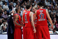 CSKA Moscow's coach Ettore Messina, Aaron Jackson, Nenad Krstic, Vladimir Micov, Anton Ponkrashov and Zoran Erceg during Euroleague 2012/2013 match.January 31,2013. (ALTERPHOTOS/Acero)
