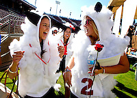 Stanford University students Hannah Farr and Sarah Bolmer  participate in the traditional Wacky Walk at Stanford Stadium during 122nd Commencement program on Sunday, June 16, 2013.