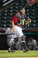 Hickory Crawdads catcher Chuck Moorman (29) on defense against the Charleston RiverDogs at L.P. Frans Stadium on August 25, 2015 in Hickory, North Carolina.  The Crawdads defeated the RiverDogs 7-4.  (Brian Westerholt/Four Seam Images)