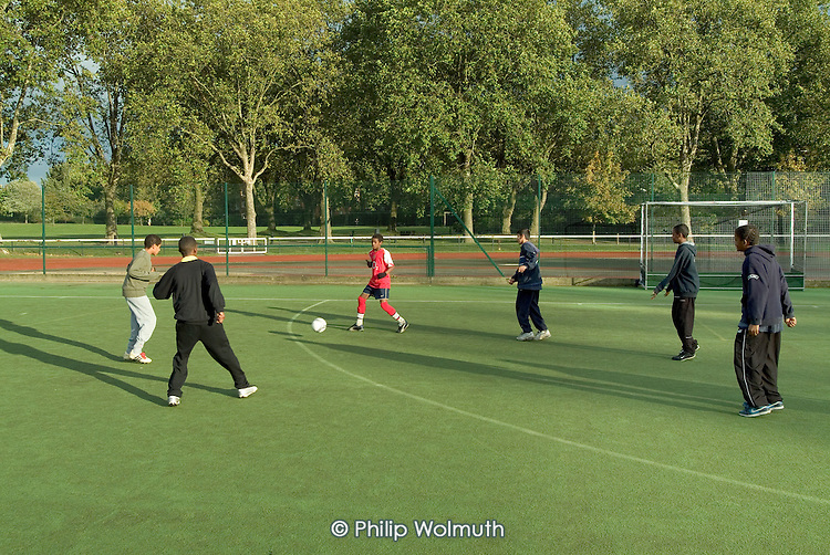 Football training at Paddington Recreation Ground, Westminster, run by London Tigers, a largely Bangladeshi youth group.