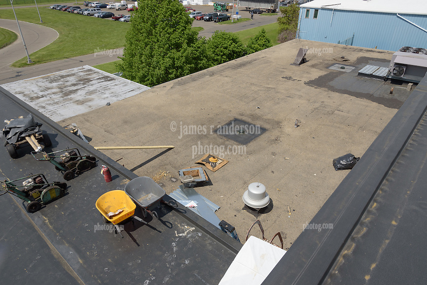 Roof Replacement and Mechanical Upgrades Stratford School For Aviation Maintenance Technicians.  Project No: BI-RT-860<br /> Contractor: Silktown Roofing, Manchester CT.<br /> James R Anderson Photography   New Haven CT   photog.com<br /> Date of Photograph: 15 May 2014<br /> Camera View: Northeast, Roof A  Image No. 33