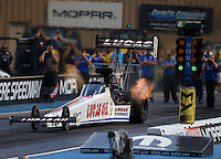 Jul 23, 2016; Morrison, CO, USA; NHRA top fuel driver Richie Crampton during qualifying for the Mile High Nationals at Bandimere Speedway. Mandatory Credit: Mark J. Rebilas-USA TODAY Sports