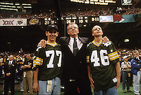 Green Bay Packers General Manager Ron Wolf and his sons at the conclusion of Super Bowl XXXI in which the Packers defeated the New England Patriots 35-21 at the Superdome in New Orleans on January 26, 1997.