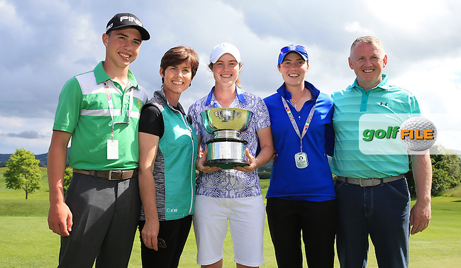 Leona Maguire and her family with the 2016 Curtis Cup, played at Dun Laoghaire GC, Enniskerry, Co Wicklow, Ireland. 12/06/2016. Picture: David Lloyd | Golffile. <br /> <br /> All photo usage must display a mandatory copyright credit to &copy; Golffile | David Lloyd.