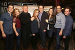 """Matt Doyle, Alex Finke, Duncan Smith, Siobhan McCarthy, Jeremy Secomb, Betsy Morgan, Brad Oscar and Joseph Taylor attend a press reception for the cast of The Tooting Arts Club production of """"Sweeney Todd''  at AOC L'aile ou la Cuisse on February 2, 2017 in New York City."""