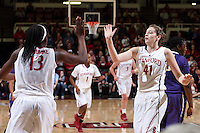 STANFORD, CA - February 27, 2014: Stanford Cardinal's Bonnie Samuelson and Chiney Ogwumike during Stanford's 83-60 victory over Washington at Maples Pavilion.