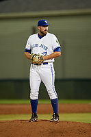Bluefield Blue Jays relief pitcher Brennan Price (52) gets ready to deliver a pitch during the second game of a doubleheader against the Bristol Pirates on July 25, 2018 at Bowen Field in Bluefield, Virginia.  Bristol defeated Bluefield 5-2.  (Mike Janes/Four Seam Images)