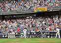 Masahiro Tanaka (Yankees),<br /> SEPTEMBER 21, 2014 - MLB :<br /> Masahiro Tanaka of the New York Yankees tips his cap to fans as he walks back to the dugout after being pulled in the sixth inning during the Major League Baseball game against the Toronto Blue Jays at Yankee Stadium in Bronx, New York, United States. (Photo by AFLO)