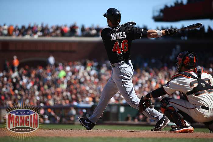 SAN FRANCISCO, CA - MAY 18:  Garrett Jones #46 of the Miami Marlins bats against the San Francisco Giants during the game at AT&T Park on Sunday, May 18, 2014 in San Francisco, California. Photo by Brad Mangin