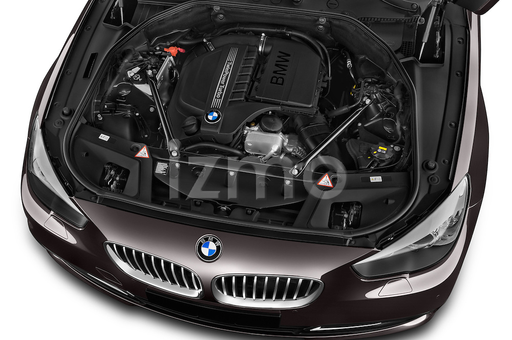 Car Stock 2015 BMW 5 Series 535I Luxury 5 Door Hatchback 2WD Engine high angle detail view
