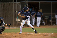 AZL Padres 2 center fielder Sean Guilbe (10) at bat during an Arizona League game against the AZL Padres 1 at Peoria Sports Complex on July 14, 2018 in Peoria, Arizona. The AZL Padres 1 defeated the AZL Padres 2 4-0. (Zachary Lucy/Four Seam Images)