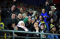 Fans in the grandstand during the Super Rugby quarterfinal match between the Hurricanes and Chiefs at Westpac Stadium in Wellington, New Zealand on Friday, 20 July 2018. Photo: Dave Lintott / lintottphoto.co.nz