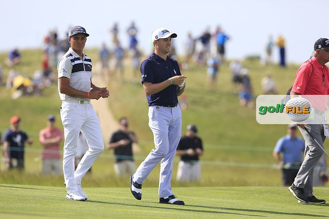 Rickie Fowler and Justin Thomas (USA) on the 7th hole during Wednesday's Practice Day of the 117th U.S. Open Championship 2017 held at Erin Hills, Erin, Wisconsin, USA. 14th June 2017.<br /> Picture: Eoin Clarke | Golffile<br /> <br /> <br /> All photos usage must carry mandatory copyright credit (&copy; Golffile | Eoin Clarke)