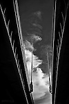 Black & white abstract of bridges and lights